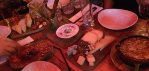 Cheese board, meat platter, black pudding parcels, bruschetta